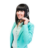 Caucasian business woman with headset isolated — Stock Photo