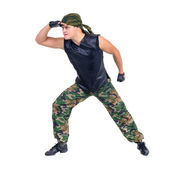 Soldier camouflage dancer showing some movements — Stock Photo