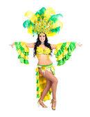 Mulher de dançarina de carnaval dançando — Fotografia Stock