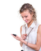 Business woman using her smartphone — Stock Photo