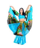 Gypsy woman posing against isolated white background — Stock Photo