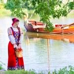 Woman in dress suit stylized Ukrainian folk — Stock Photo