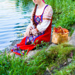 Woman in dress suit stylized Ukrainian folk — Stock Photo