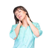 Nurse or woman medical doctor having neck pain — Stock Photo