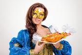 Yemekle kadını — Stok fotoğraf