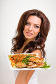 Woman with food — Stock Photo