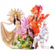 Dancer team wearing carnival costumes dancing — Stock Photo