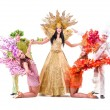Dancer team wearing carnival costumes dancing — Stock Photo #46735351