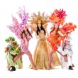 Dancer team wearing carnival costumes dancing — Stock Photo #46735425