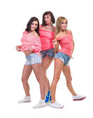 Pretty women posing in sexy jeans shorts.  Isolated on white — Stock Photo