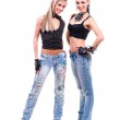 Two young sexy women in denim jeans isolated on white — Stock Photo #47169977