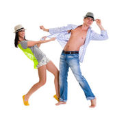 Elegant young couple dancing — Stock Photo