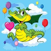 Cute dragoon cartoon fly with balloons — Stock Vector