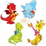 Cartoon animals - small schooler — Stock Vector