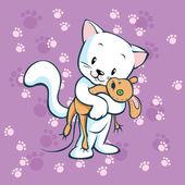 Sevimli kedicik fare oyuncak tutun — Stok Vektör