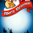 Royalty-Free Stock Vector Image: Merry christmas frame with santa, reindeer and snow