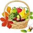 Basket with autumn fruit and vegetables, isolated — Stock Vector