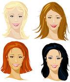 Four representative of women — Stock Vector
