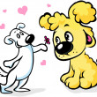 Two dogs in love cartoon — Stock Vector
