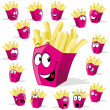French fries cartoon illustration with many expressions - Stock Vector