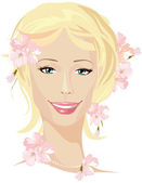 Ing beautiful woman portrait — Stock Vector