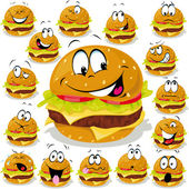 Hamburger cartoon illustration with many expressions — Stock Vector