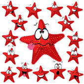 Red sea star cartoon with many expressions — Stock Vector