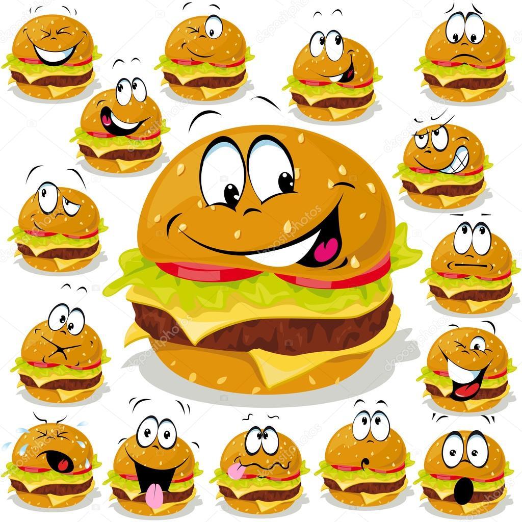 Hamburger cartoon illustration with many expressions stock vector