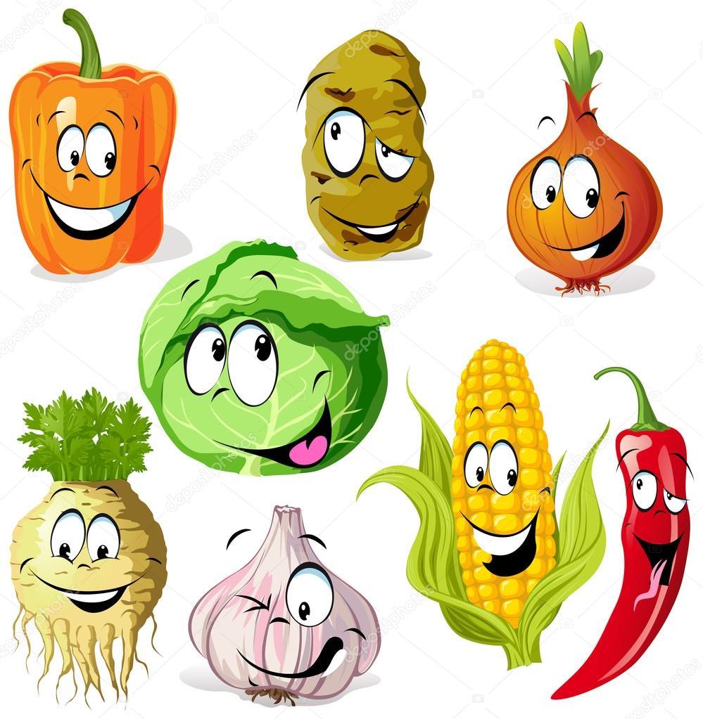 Divertente cartone animato di verdure e spezie