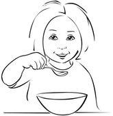 Child eating - black outline — Stock Vector