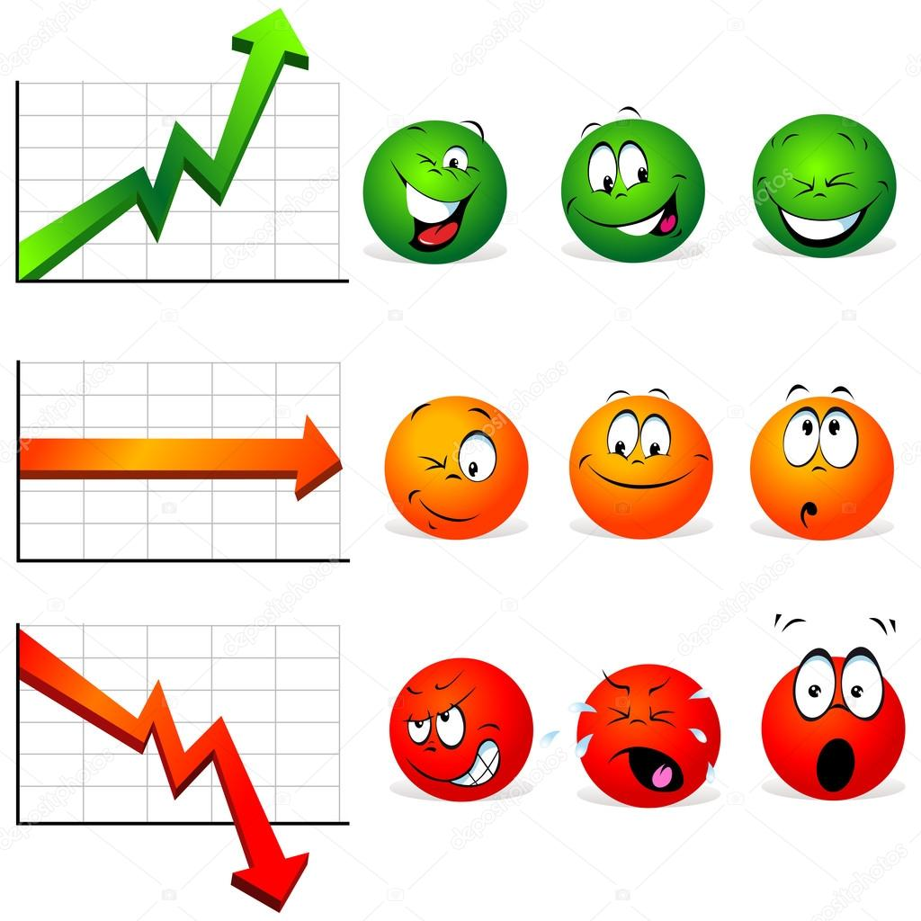 Graphs of stability, profit and falls with smiley faces with many expressions — Stock Vector #13609779
