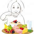 Healthy eating child - illustration — Stock Vector