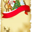 Royalty-Free Stock Vectorafbeeldingen: Merry christmas frame with santa, reindeer, snow and romantic silhouette