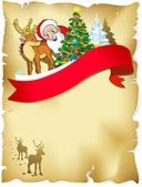 Merry christmas frame with santa, reindeer, snow and romantic silhouette — Stock Vector