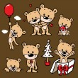 Cute bear family cartoon - Stok Vektör