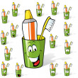 Toothbrush and toothpaste in a cup - cartoon with many expressions - Vektorgrafik