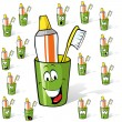 Toothbrush and toothpaste in a cup - cartoon with many expressions — Stock Vector
