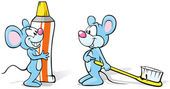 Two mice with toothpaste and toothbrush illustration — Stock Vector