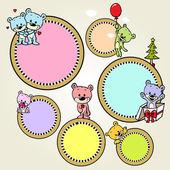 语音泡沫或框架与可爱熊-矢量 — 图库矢量图片