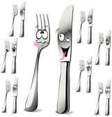 Fork and knife cartoon — Stock Vector