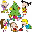 Children playing with toys and christmas tree handing out gifts — Stock Vector