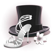 Romantic white wedding shoe — Stock Vector