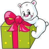 Cute polar bear unwrapping gift — Stock Vector