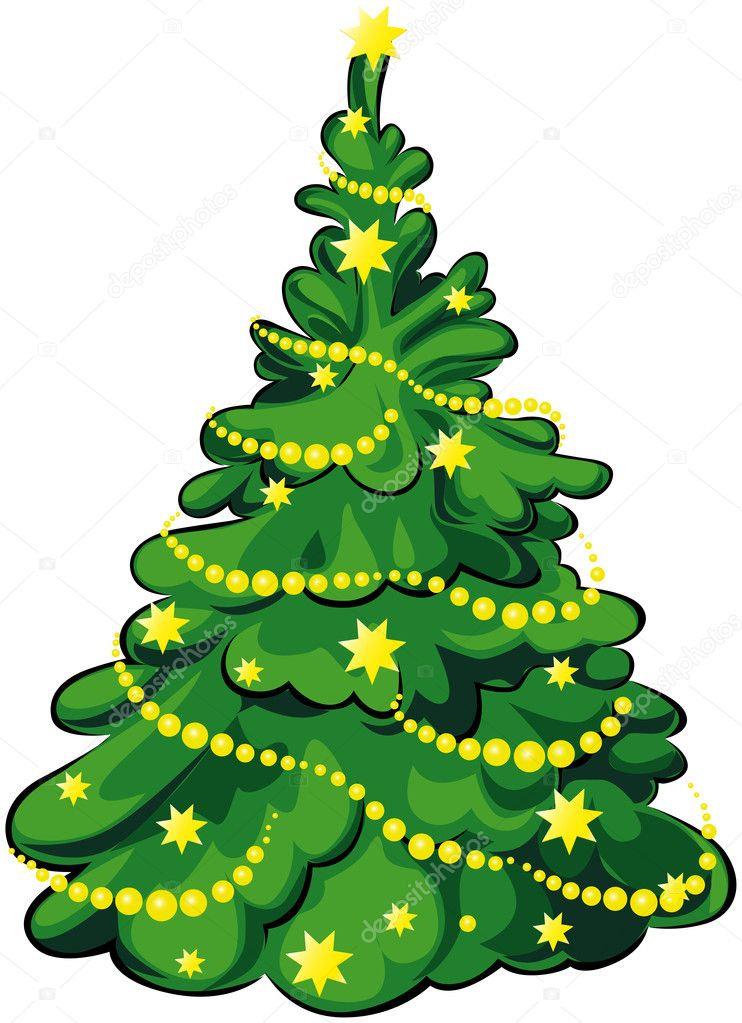 Green christmas tree with yellow stars and chain isolated on white background — Stock Vector #14553529