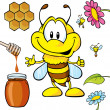 Funny bee cartoon - Vettoriali Stock