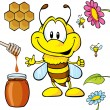 Funny bee cartoon - Stok Vektr