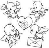 Valentine angels — Stock Vector