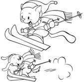 Cat skiing — Stock Vector
