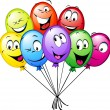 Stock Vector: Group of funny colorful balloons