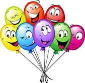 Group of funny colorful balloons — Stock Vector